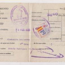 Sellos: RECIBO DEL AYUNTAMIENTO DE OVIEDO. CON SELLO LOCAL POR LA PATRIA. 1938. ASTURIAS. Lote 172915539