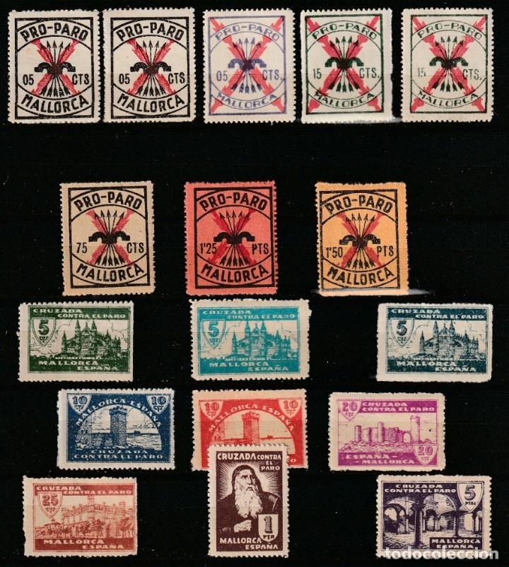MALLORCA . BALEARES). 1936. G. CIVIL,PRO-PARO Y CRUZADA CONTRA EL PARO.SELLOS LOCALES .**.MNH (Sellos - España - Guerra Civil - Locales - Nuevos)