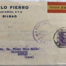 Sellos: TARJETA PATRIÓTICA ILUSTRADA - CENSURA MILITAR VIZCAYA - PABLO FIERRO (BILBAO) - AÑO 1939. Lote 173044608