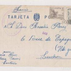 Sellos: TARJETA POSTAL DE SANTOÑA. CASA CORREOS. CANTABRIA A FRANCIA. CENSURA MILITAR DE BILBAO. PAÍS VASCO. Lote 173051844