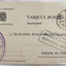 Sellos: TARJETA POSTAL PATRIÓTICA - CENSURA MILITAR SANTANDER - AL ALCALDE AYUNTAMIENTO BARCENA DE CICERO. Lote 173062229