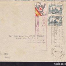 Timbres: HP10-8- GUERRA CIVIL.CARTA SAN SEBASTIAN 1937. REQUETÉS Y CENSURAR EN DESTINO. Lote 173070450