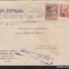 Sellos: CM3-26- GUERRA CIVIL.CARTA SERRERIAS DEL MIÑO. VIGO 1937. LOCAL Y CENSURA . Lote 173071430