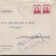 Sellos: CM3-7- GUERRA CIVIL. CARTA SAN SEBASTIAN -ALEMANIA 1937- CENSURA . Lote 173084925