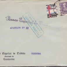 Sellos: CM3-4- GUERRA CIVIL. CARTA SANTANDER . TUBERCULOSOS 1938 Y CENSURA . Lote 173086390