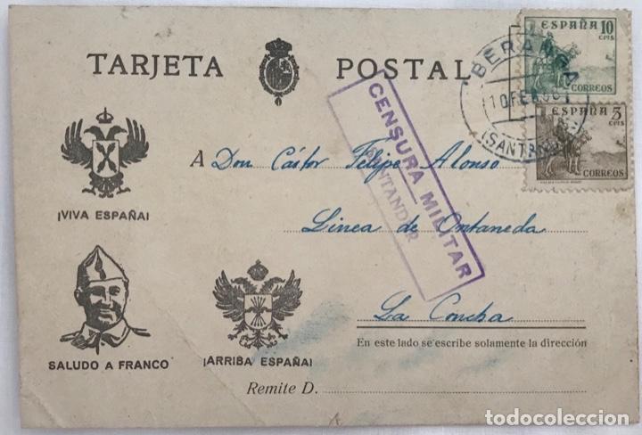 TARJETA POSTAL PATRIÓTICA - CENSURA MILITAR SANTANDER - BERANGA, 1938 (Sellos - España - Guerra Civil - De 1.936 a 1.939 - Cartas)