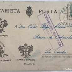 Sellos: TARJETA POSTAL PATRIÓTICA - CENSURA MILITAR SANTANDER - BERANGA, 1938. Lote 173142072