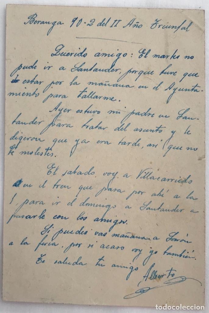 Sellos: Tarjeta postal patriótica - Censura Militar Santander - Beranga, 1938 - Foto 2 - 173142072