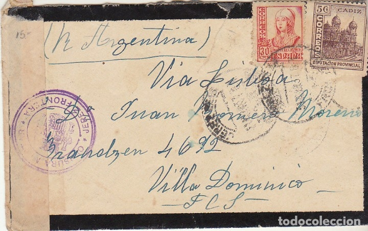 LUTO. CENSURA MILITAR : JEREZ DE LA FRONTERA A VILLA DOMINICO (ARGENTINA) 1937. (Sellos - España - Guerra Civil - De 1.936 a 1.939 - Cartas)