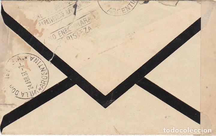 Sellos: LUTO. CENSURA MILITAR : JEREZ de la FRONTERA a VILLA DOMINICO (ARGENTINA) 1937. - Foto 2 - 173403764
