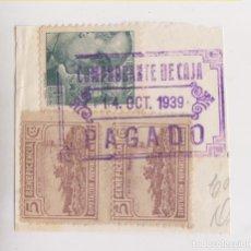 Sellos: FRAGMENTO CON LOCALES DE CÁDIZY SELLOS DE CORREOS USADOS. FISCAL. 1939. Lote 173442862