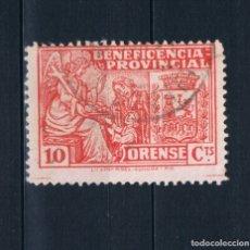 Selos: GUERRA CIVIL. SELLO LOCAL. BENEFICENCIA PROVINCIAL ORENSE 10 CTS º LOT010. Lote 173489892
