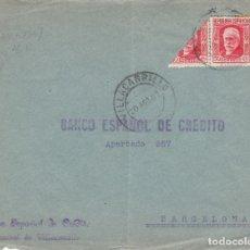 Sellos: GUERRA CIVIL FRONTAL DE SOBRE CON BISECTADO DE BANESTO EN VILLACARRILLO -JAÉN- 1937. Lote 173500055