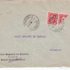 Sellos: GUERRA CIVIL FRONTAL DE SOBRE CON BISECTADO DE BANESTO EN ORIHUELA - 1937. Lote 173500392