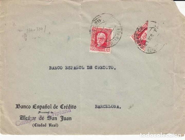 GUERRA CIVIL FRONTAL DE SOBRE CON BISECTADO DE BANESTO EN CAMPO DE CRIPTANA - 1937 (Sellos - España - Guerra Civil - De 1.936 a 1.939 - Cartas)
