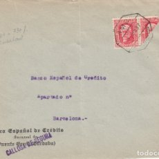 Sellos: GUERRA CIVIL FRONTAL DE SOBRE CON BISECTADO Y AMBULANTE DE BANESTO EN CALLOSA DE SEGURA - - 1937. Lote 173500944