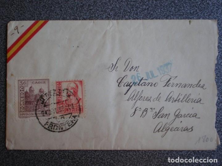 SOBRE DE CARTA AÑO 1937 CENSURA MILITAR DE JEREZ FRONTERA CON ESCUDO REPÚBLICANO (Sellos - España - Guerra Civil - De 1.936 a 1.939 - Cartas)