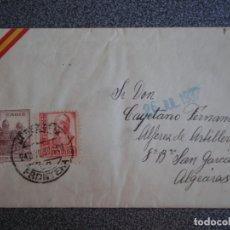 Sellos: SOBRE DE CARTA AÑO 1937 CENSURA MILITAR DE JEREZ FRONTERA CON ESCUDO REPÚBLICANO. Lote 173529543