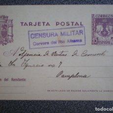 Sellos: CENSURA MILITAR CERVERA RIO ALHAMA -RARA- LA RIOJA AÑO 1938 EN ENTERO POSTAL 81. Lote 173531942