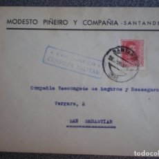 Sellos: SOBRE CENSURA MILITAR SANTANDER AÑO 1938 PUBLICIDAD MODESTO PIÑEIRO Y Cª. Lote 173532939