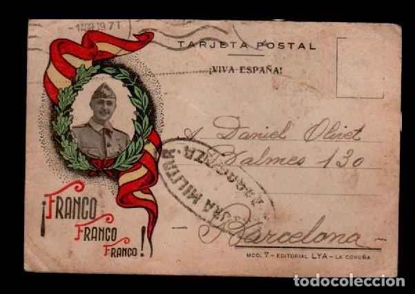 16-7 GUERRA CIVIL POSTAL CON EFIGIE DE FRANCO CON AUREOLA CIRCULADA A BARCELONA EL 1 DE ABRIL DE 193 (Sellos - España - Guerra Civil - De 1.936 a 1.939 - Cartas)