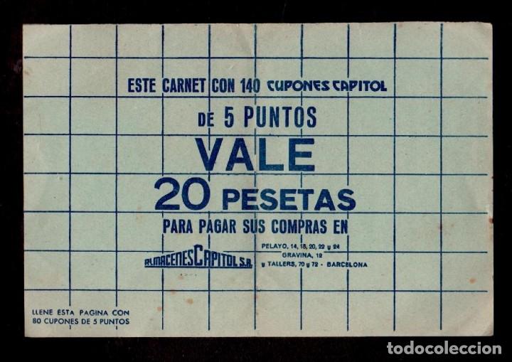 Sellos: C15-5 ALMACENES CAPITOLIO Carnet COMPLETO con 140 cupones de CINCO PUNTOS Color VERDE sueltos.. - Foto 2 - 173617479