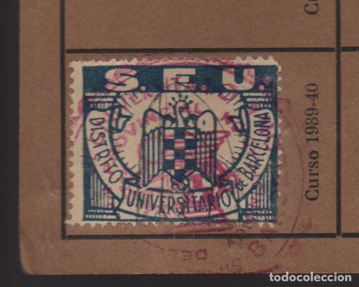 BARCELONA, CARNET. S.E.U. CON 1 CUOTA CURSO 1939-1940- VER FOTOS (Sellos - España - Guerra Civil - De 1.936 a 1.939 - Usados)