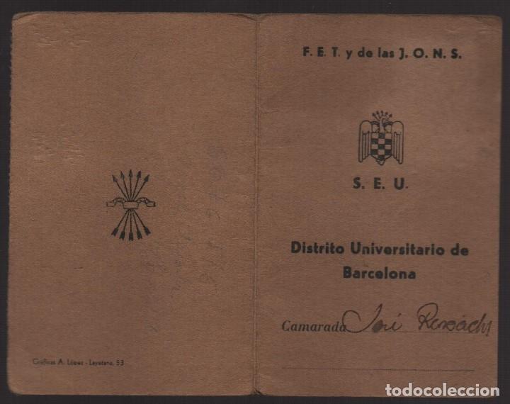 Sellos: BARCELONA, CARNET. S.E.U. CON 1 CUOTA CURSO 1939-1940- VER FOTOS - Foto 3 - 173666052