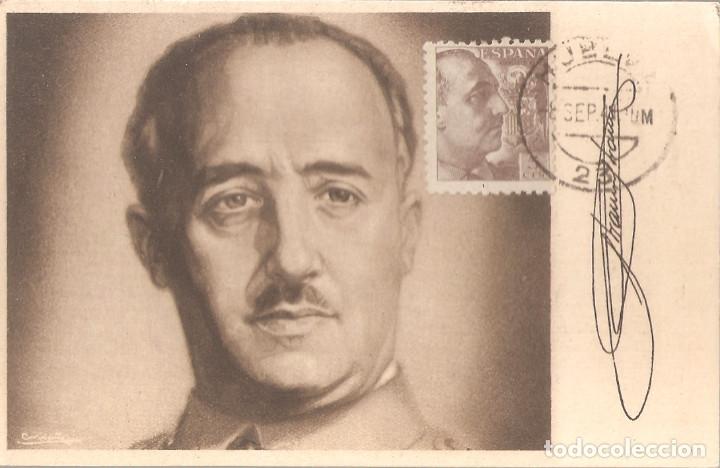 TARJETA POSTAL Y SELLO ED.919 CON LA IMAGEN Y FIRMA DE FRANCO. (Sellos - España - Guerra Civil - De 1.936 a 1.939 - Cartas)