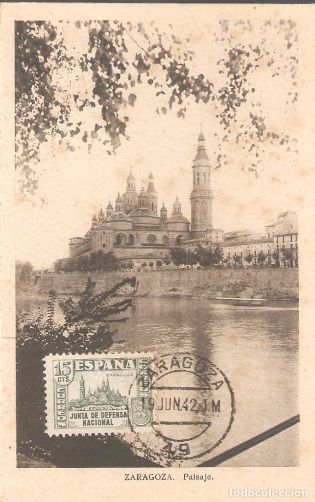 TARJETA POSTAL DE ZARAGOZA CON SELLO 806 DE LA JUNTA DE DEFENSA NACIONAL. (Sellos - España - Guerra Civil - De 1.936 a 1.939 - Cartas)
