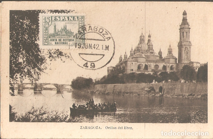 TARJETA POSTAL DE ZARAGOZA CON SELLO 806 DE LA JUNTA DE DEFENSA NACIONAL-2 (Sellos - España - Guerra Civil - De 1.936 a 1.939 - Cartas)