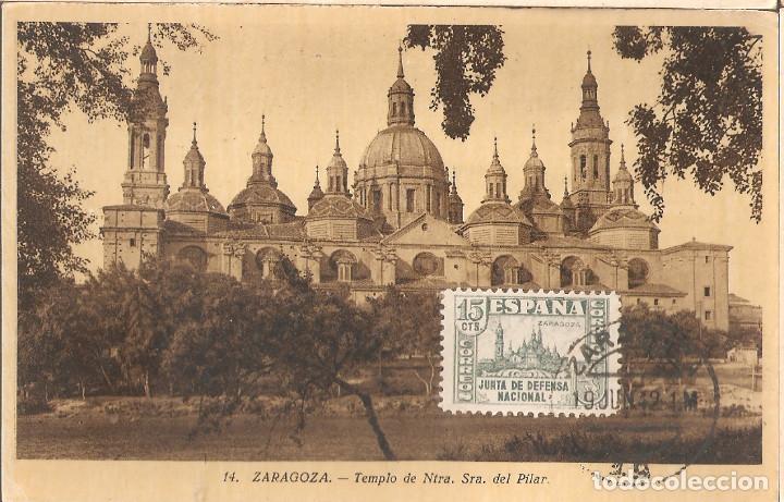 TARJETA POSTAL DE ZARAGOZA CON SELLO 806 DE LA JUNTA DE DEFENSA NACIONAL-3 (Sellos - España - Guerra Civil - De 1.936 a 1.939 - Cartas)