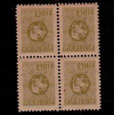 Sellos: A3-9 VIÑETA UNION CATALANISTA 6ª EMISION NATHAN Nº 1 VERDE OLIVA PAPEL GRIS. Lote 173837513