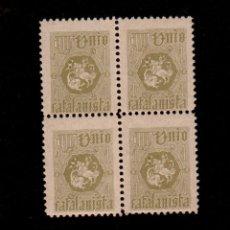 Sellos: A3-9 VIÑETA UNION CATALANISTA 6ª EMISION NATHAN Nº 1 VERDE OLIVA. Lote 173837584
