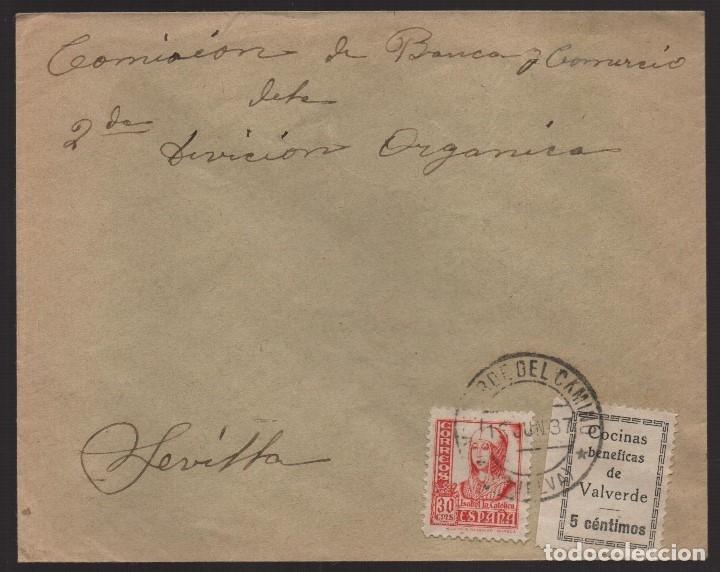 CARTA DE HUELVA A SEVILLA, SELLO BENEFICO VALVERDE, VER FOTOS (Sellos - España - Guerra Civil - De 1.936 a 1.939 - Usados)