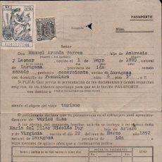Sellos: L35-18 SOLICITUD DE PASAPORTE CON SELLO FISCAL 1 PTA DEL COLEGIO DE HUERFANOS DE LA DIRECCION GENERA. Lote 174053690