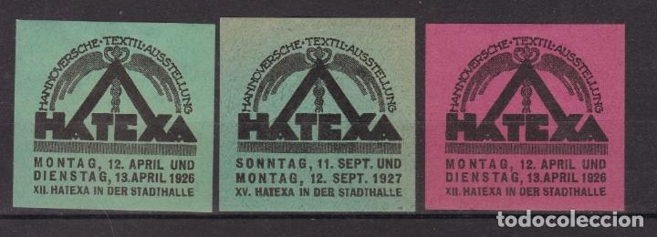 KK7-VIÑETA TEXTIL HATEXA 1927 X 3 * CON FIJASELLOS (Sellos - España - Guerra Civil - Viñetas - Nuevos)