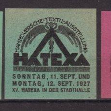 Sellos: KK7-VIÑETA TEXTIL HATEXA 1927 X 3 * CON FIJASELLOS. Lote 174111115