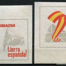 Sellos: VIÑETAS POLÍTICAS, GIBRALTAR, TIERRA ESPAÑOLA, 1969, (PRUEBAS SIN DENTAR). Lote 174180987