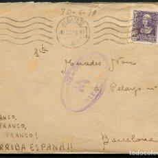 Sellos: GUERRA CIVIL POST, CARTA, DIVISIÓN FLECHAS VERDES, 1939, ALBACETE. Lote 174193638