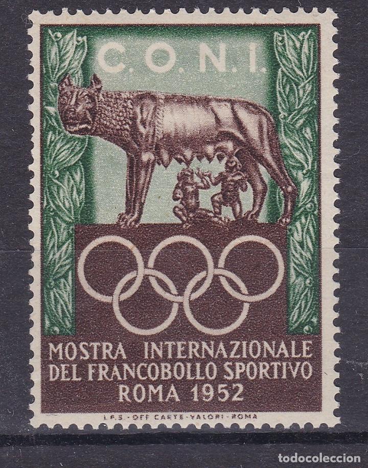 KK7-VIÑETA MUESTRA INTERNACIONAL SELLO DEPORTIVO ROMA 1952 ** SIN FIJASELLOS (Sellos - España - Guerra Civil - Viñetas - Nuevos)