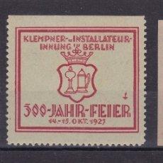 Sellos: KK8-VIÑETAS 300 JAHR- FEIER BERLIN 1927 * * SIN FIJASELLOS (CENTRO) * CON FIJASELLOS LAS OTRAS . Lote 174216805