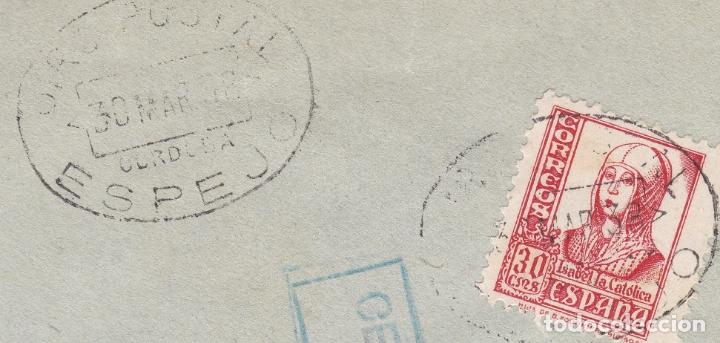 Sellos: F28-3-Guerra Civil. Carta ESPEJO Córdoba 1938. Local y Censura doble Azul / Violeta. Matasellos GIRO - Foto 3 - 174269183
