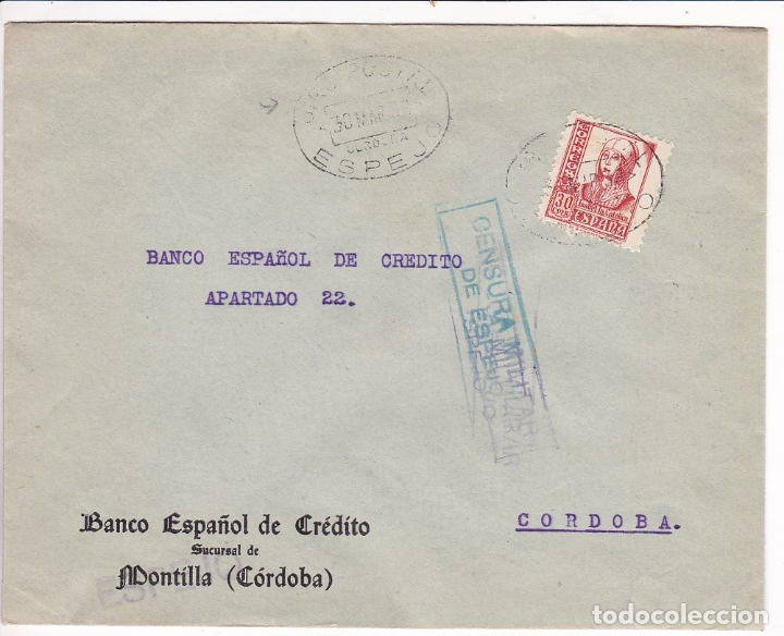 F28-3-GUERRA CIVIL. CARTA ESPEJO CÓRDOBA 1938. LOCAL Y CENSURA DOBLE AZUL / VIOLETA. MATASELLOS GIRO (Sellos - España - Guerra Civil - De 1.936 a 1.939 - Cartas)