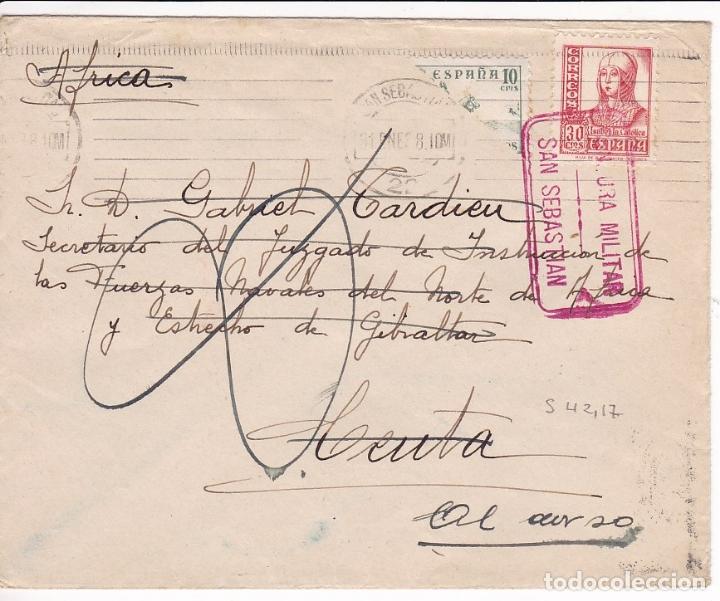 F28-3-GUERRA CIVIL. CARTA SAN SEBASTIÁN -CEUTA 1938. DEVUELTA. CENSURA. CID BISECTADO (Sellos - España - Guerra Civil - De 1.936 a 1.939 - Cartas)