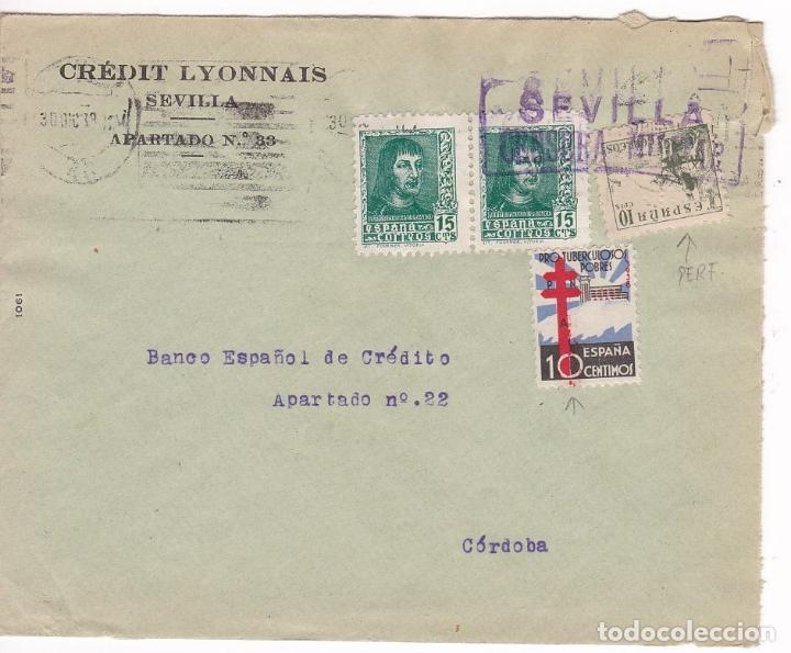 F28-4-GUERRA CIVIL. CARTA SEVILLA 1938. LOCAL CENSURA. TUBERCULOSOS VARIEDAD. CID PERFORADO (Sellos - España - Guerra Civil - De 1.936 a 1.939 - Cartas)