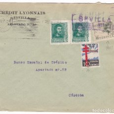 Sellos: F28-4-GUERRA CIVIL. CARTA SEVILLA 1938. LOCAL CENSURA. TUBERCULOSOS VARIEDAD. CID PERFORADO. Lote 174269792