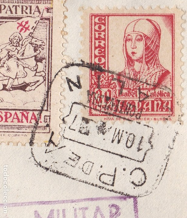 Sellos: F28-4-Guerra Civil. Carta LALIN Pontevedra 1937. Local.Censura. Matasellos Caja Postal LALIN - Foto 2 - 174270025