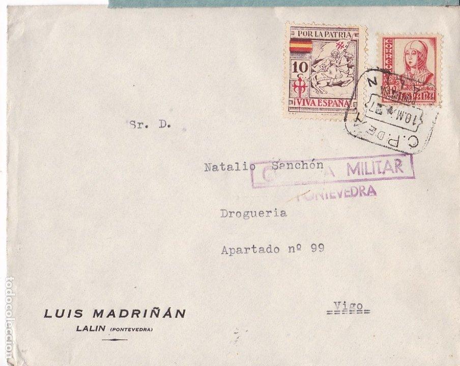 F28-4-GUERRA CIVIL. CARTA LALIN PONTEVEDRA 1937. LOCAL.CENSURA. MATASELLOS CAJA POSTAL LALIN (Sellos - España - Guerra Civil - De 1.936 a 1.939 - Cartas)