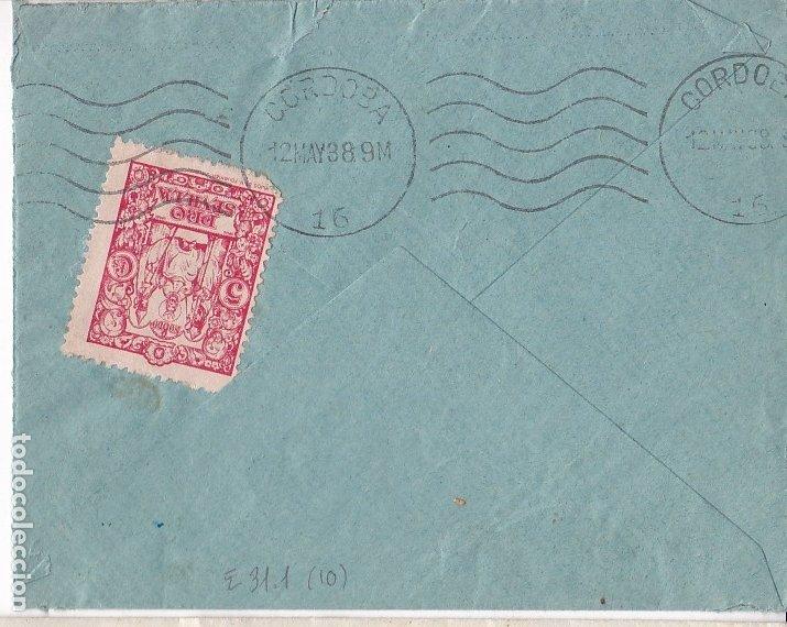 Sellos: F28-4-Guerra Civil. Carta ESTEPA Sevilla 1938. Local.Censura. - Foto 2 - 174270142